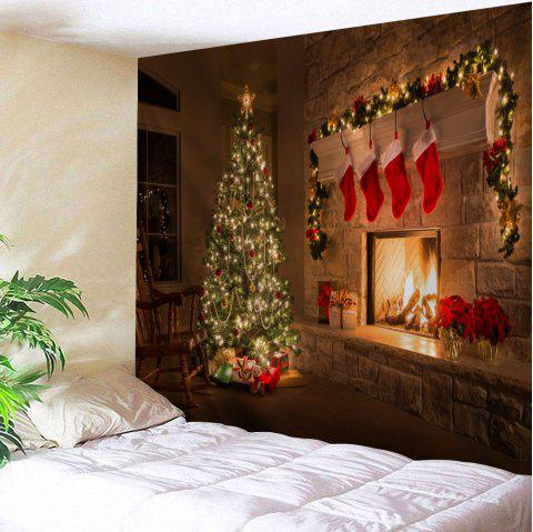 Wall Decor Christmas Fireplace Tree Printed Tapestry - COLORMIX W91 INCH * L71 INCH