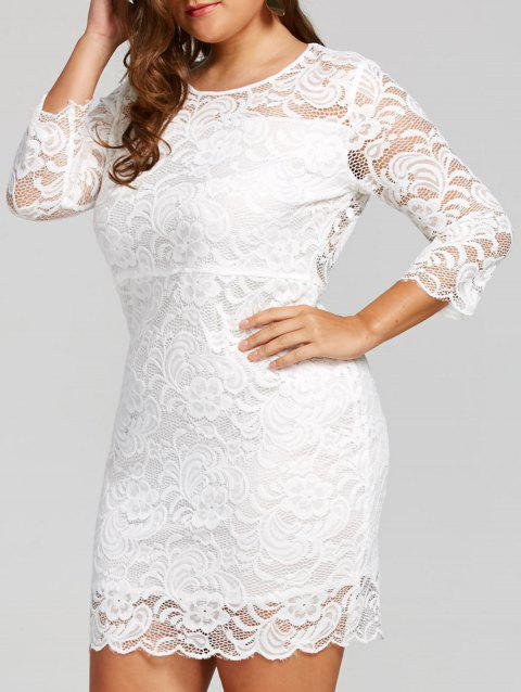 17% OFF] 2019 High Waisted Plus Size Lace Bodycon Dress In WHITE ...