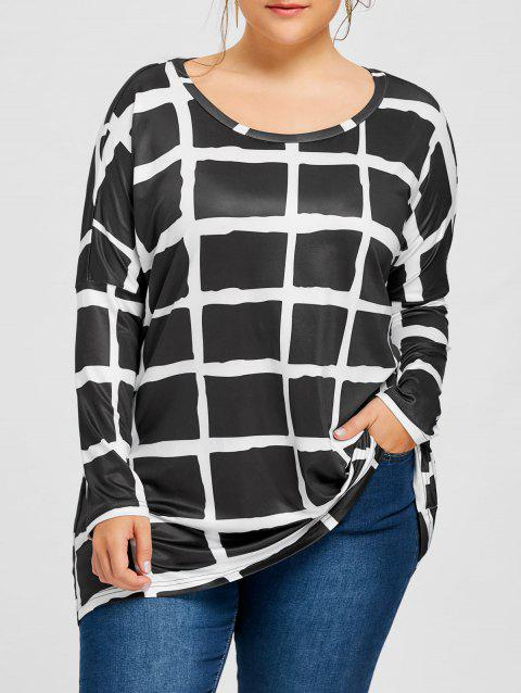 Plus Size Drop Shoulder Checked Tunic T-shirt - BLACK 3XL