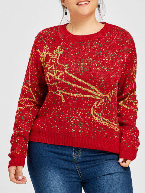 Plus Size Elk Christmas Bell Sweater - RED XL