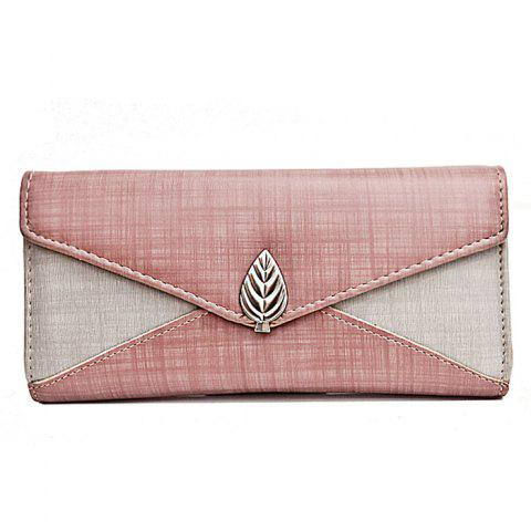 Metal Leaf Color Block Wallet With Chain - PINK
