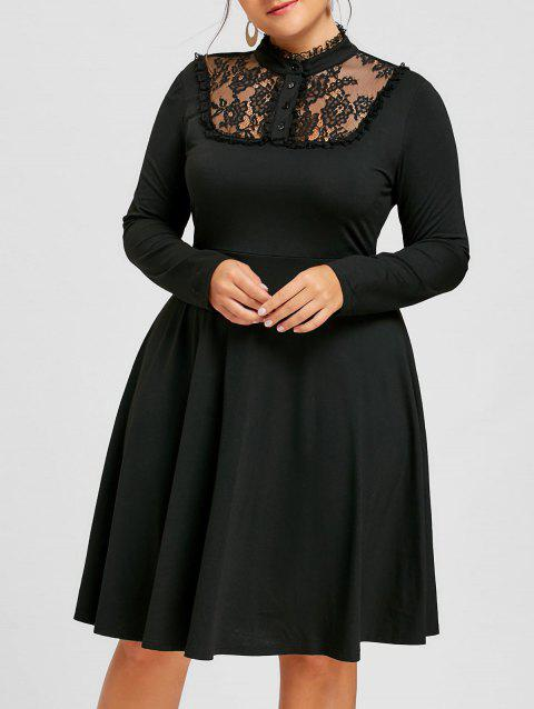 64128f544b1 17% OFF  2019 Plus Size Lace Up Fit and Flare Dress In BLACK XL ...