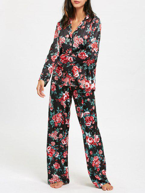 Floral Printed Long Sleeve Pajama Set - COLORMIX S