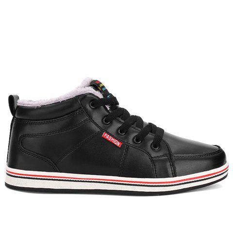 Faux Fur Lining Lace Up Casual Shoes - BLACK 44
