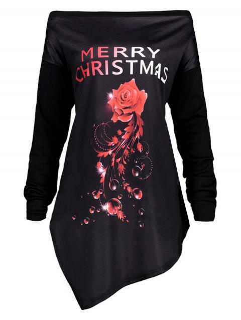 Plus Size Merry Christmas Irregular Tunic T-shirt - RED 2XL