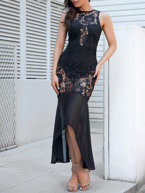 Sleeveless Sheer Lace Bodycon Maxi Dress - BLACK S