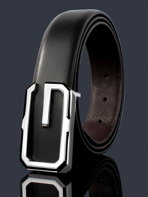 3D G Shape Metal Buckle Decorated Automatic Buckle Wide Belt - WHITE/BLACK/SILVER 120CM