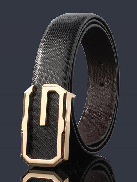 3D G Shape Metal Buckle Decorated Automatic Buckle Wide Belt - BLACK/GOLDEN 110CM