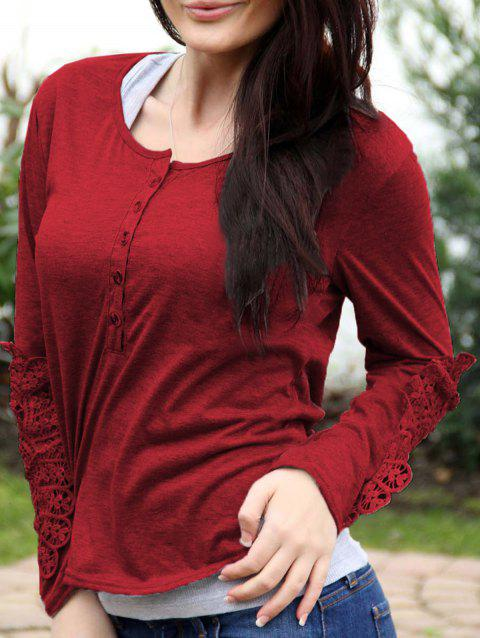 Casual Lace Splicing Scoop Neck Long Sleeve T-Shirt For Women - WINE RED M