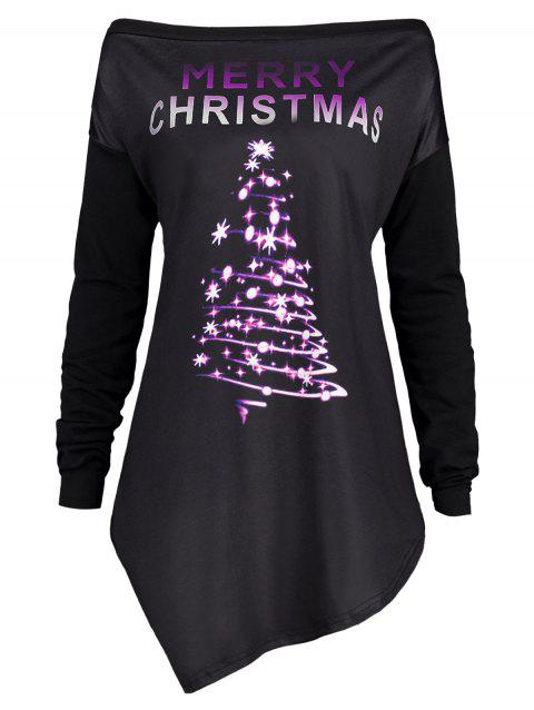 Plus Size Merry Christmas Irregular Tunic T-shirt - PURPLE 3XL