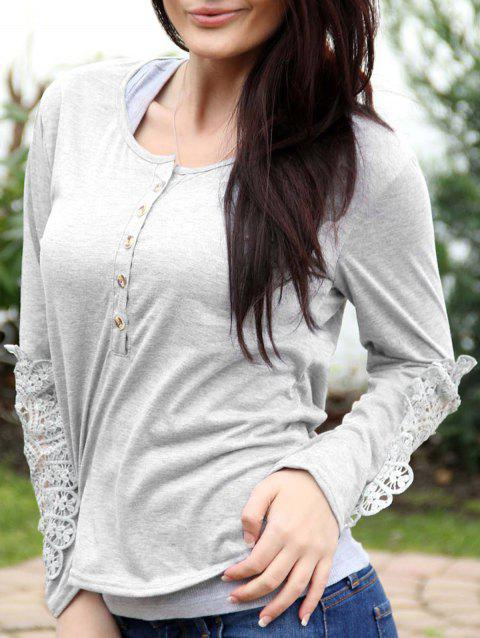 Casual Lace Splicing Scoop Neck Long Sleeve T-Shirt For Women - WHITE M