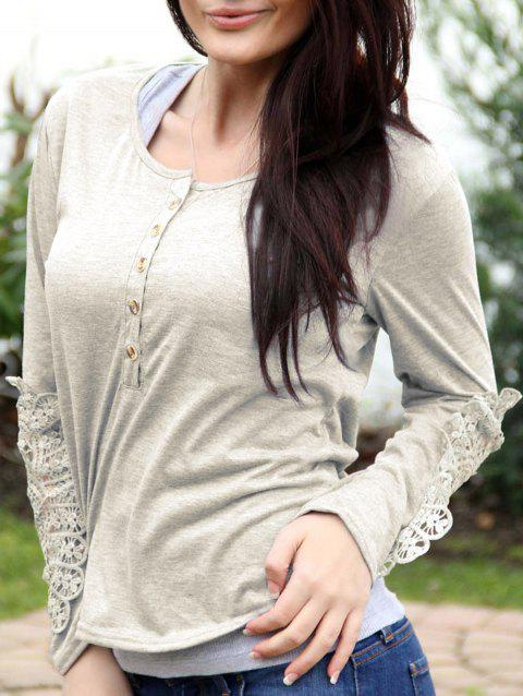 Casual Lace Splicing Scoop Neck Long Sleeve T-Shirt For Women - OFF WHITE S