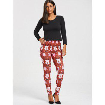 Christmas Cartoon Print Leggings - COLORMIX COLORMIX