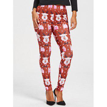 Christmas Cartoon Print Leggings - COLORMIX L