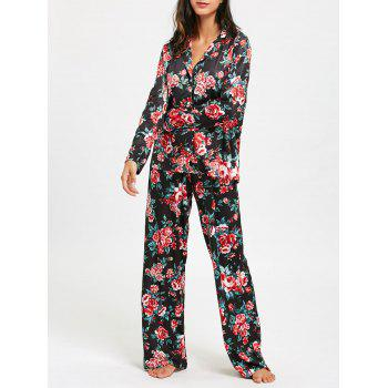 Floral Printed Long Sleeve Pajama Set - COLORMIX COLORMIX
