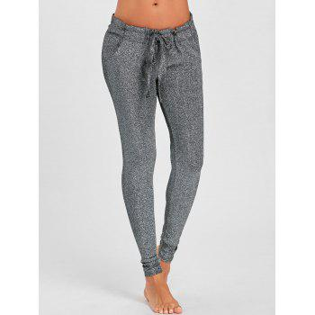 Self Tie Glitter Pencil Pants - GRAY S