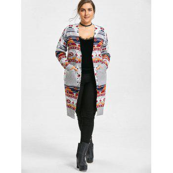 Geometric Print Plus Size Sweater Cardigan - GRAY ONE SIZE