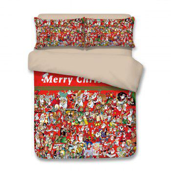 Christmas Letters Santa Claus Print 3PCS Bedding Set