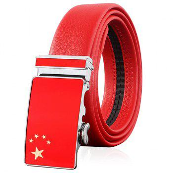 Chinese flag Embellished Automatic Buckle Belt - RED RED