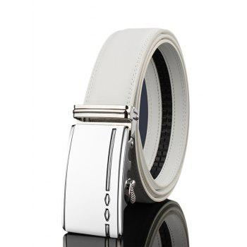 Metal Buckle Embellished Automatic Buckle Wide Belt - WHITE WHITE