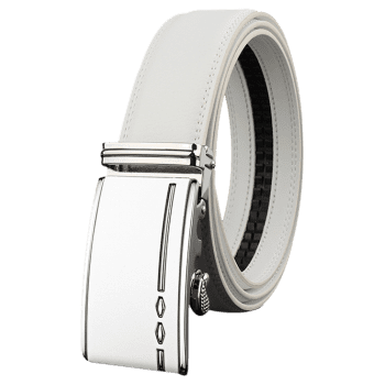 Metal Buckle Embellished Automatic Buckle Wide Belt - WHITE 125CM