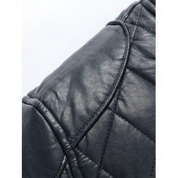 Casual Diamond Pattern Faux Leather Bomber Jacket - BLACK XL