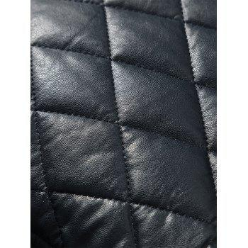Casual Diamond Pattern Faux Leather Bomber Jacket - BLACK M