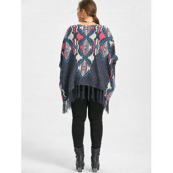Geometric Print Plus Size Fringe Cape Sweater - BLUE ONE SIZE