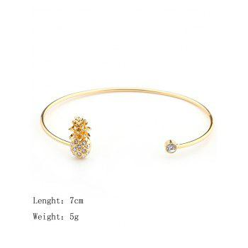 Cute Rhinestone Pineapple Cuff Bracelet - GOLDEN