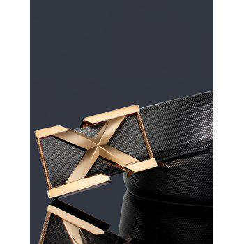 3D Letter Metal Buckle Embellished PU Leather Wide Belt - BLACK / GOLDEN BLACK / GOLDEN