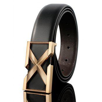 3D Letter Metal Buckle Embellished PU Leather Wide Belt - BLACK + GOLDEN BLACK / GOLDEN