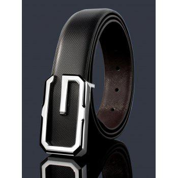 3D G Shape Metal Buckle Decorated Automatic Buckle Wide Belt - WHITE+BLACK+SILVER WHITE/BLACK/SILVER