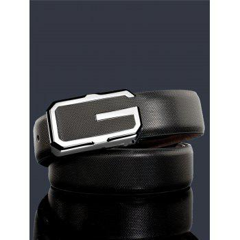 3D G Shape Metal Buckle Decorated Automatic Buckle Wide Belt - WHITE/BLACK/SILVER WHITE/BLACK/SILVER