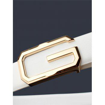 3D G Shape Metal Buckle Decorated Automatic Buckle Wide Belt - WHITE/GOLDEN WHITE/GOLDEN