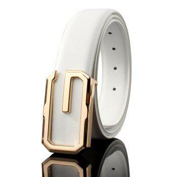 3D G Shape Metal Buckle Decorated Automatic Buckle Wide Belt - WHITE AND GOLDEN WHITE/GOLDEN