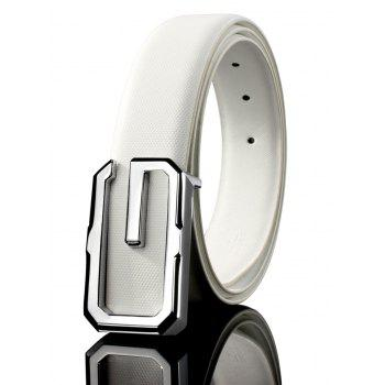 3D G Shape Metal Buckle Decorated Automatic Buckle Wide Belt - WHITE+SILVER+ROSE GOLD WHITE/SILVER/ROSE GOLD