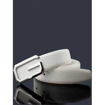 3D G Shape Metal Buckle Decorated Automatic Buckle Wide Belt - WHITE/SILVER/ROSE GOLD 120CM