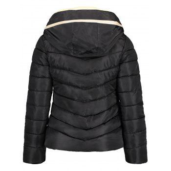 Hooded Drawstring Quilted Jacket - BLACK 2XL