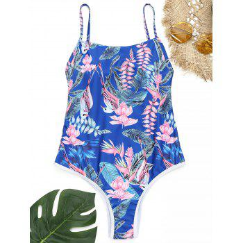 One Piece Flower Print Backless Swimsuit - ROYAL ROYAL