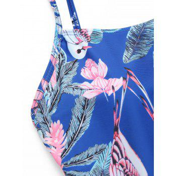 One Piece Flower Print Backless Swimsuit - ROYAL M