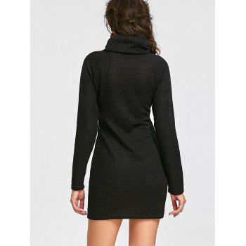 Raglan Sleeve Turtleneck Long Sleeve Mini Dress - BLACK L