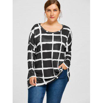 Plus Size Drop Shoulder Checked Tunic T-shirt - BLACK 5XL