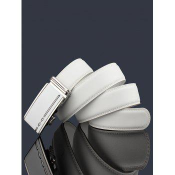 Metal Buckle Embellished Automatic Buckle Wide Belt - WHITE 110CM