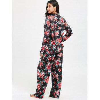 Floral Printed Long Sleeve Pajama Set - COLORMIX L