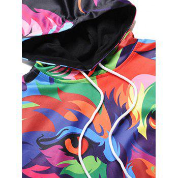 Kangaroo Pocket Colormix Abstract Animal Print Hoodie - COLORMIX L
