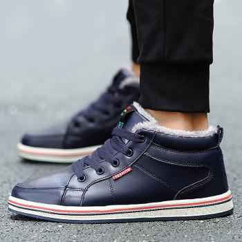 Faux Fur Lining Lace Up Casual Shoes - CERULEAN 44