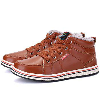 Faux Fur Lining Lace Up Casual Shoes - BROWN 43