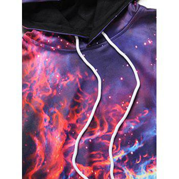 Colorful Flame Print Kangaroo Pocket Hoodie - COLORMIX 2XL