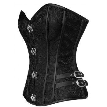 Brocade Vintage Lace-up Corset - BLACK 2XL