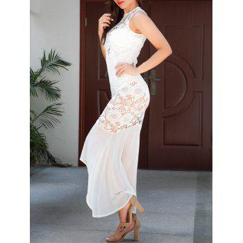Sleeveless Sheer Lace Bodycon Maxi Dress - WHITE M